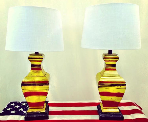 Pair Vintage Frederick Cooper Brass Lamps