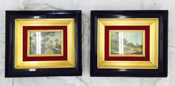 Antique Oil Paintings in Black Lacquer & Gold Frame