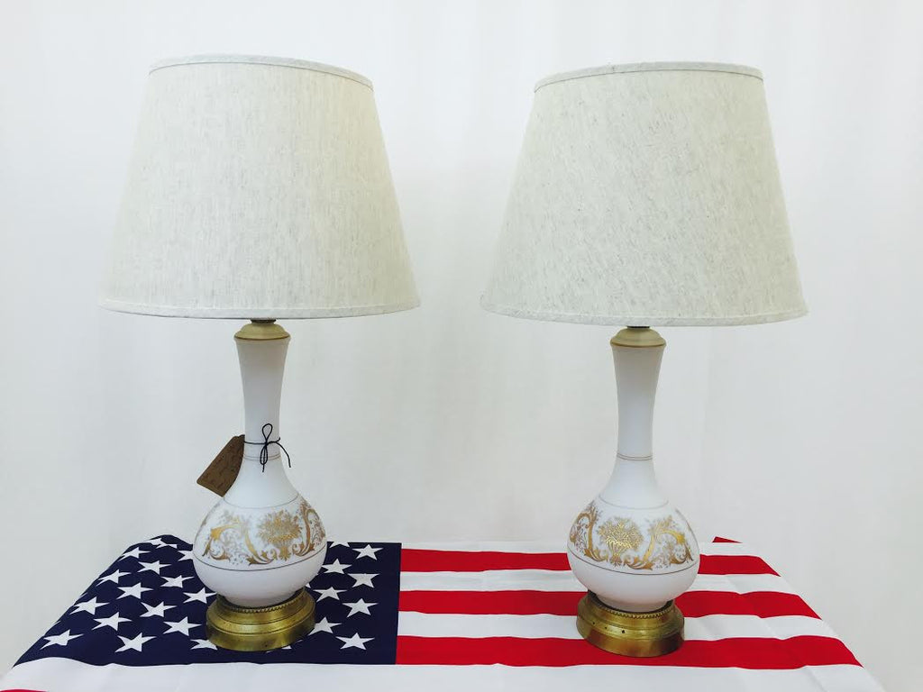 Pair Vintage White & Gold Lamps