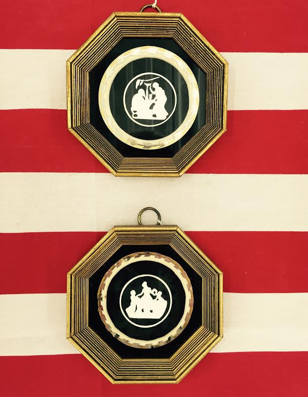 Pair Gold Framed Intaglio Style Silhouettes