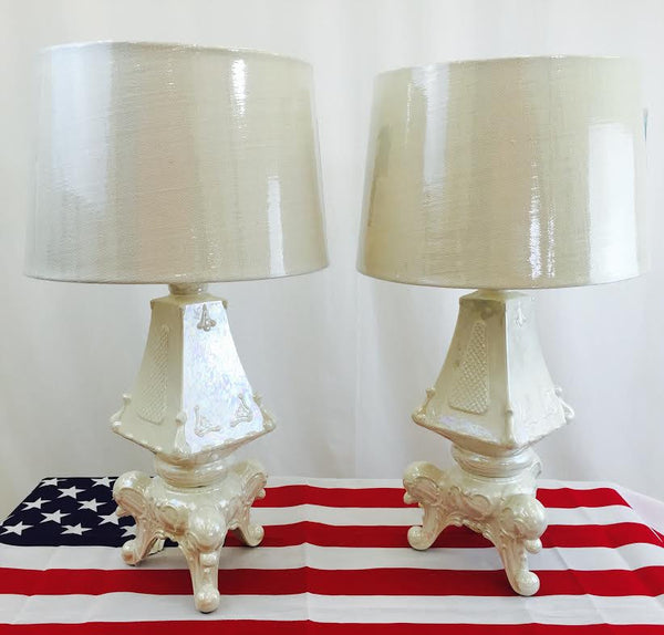 Pair Pearlized Rococo Style Lamps