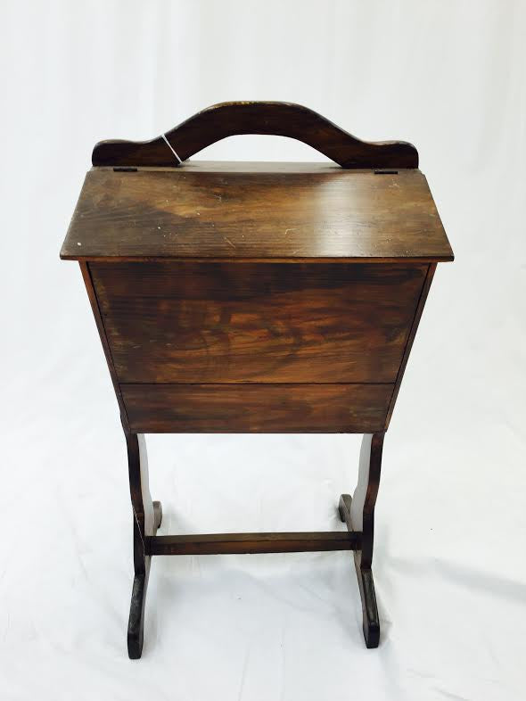 Wooden Sewing Box & Side Table