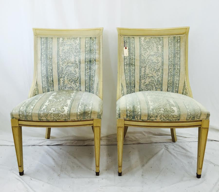 Pair Vintage French Style Slipper Chairs