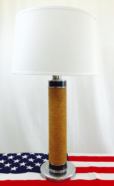 Mid Century Modern Woven Lamp on Chrome Base