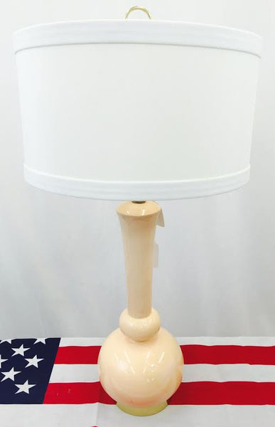 Ceramic Lamp on Round Brass Base