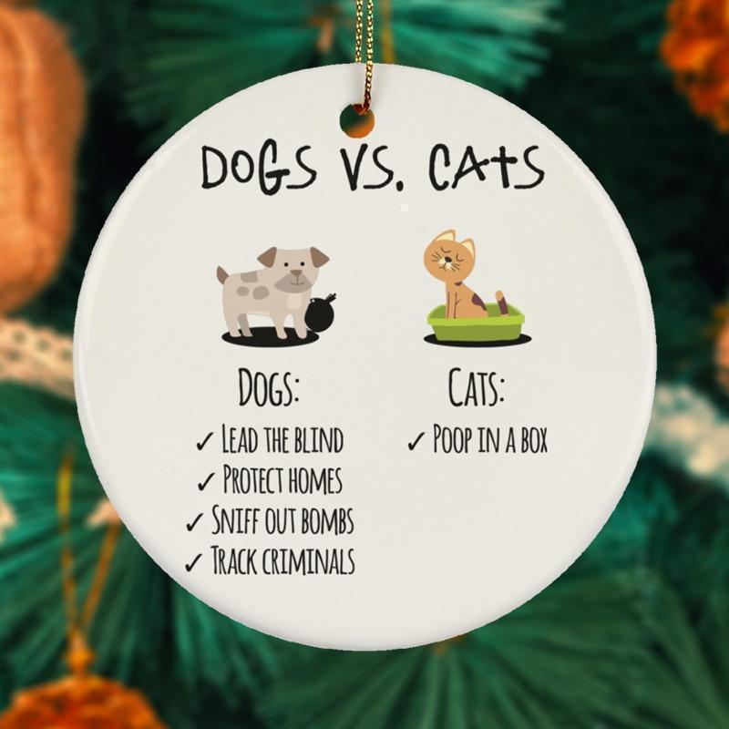 Dogs vs Cats Ceramic Circle Ornament-KaboodleWorld