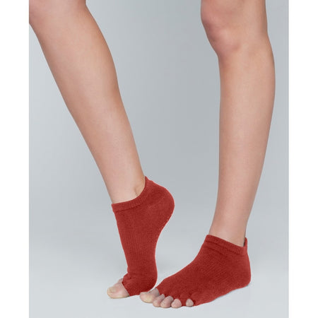 Moonchild Yoga Wear Moonchild Grip Socks - Low Rise - Open Toe Socks Intense Rust