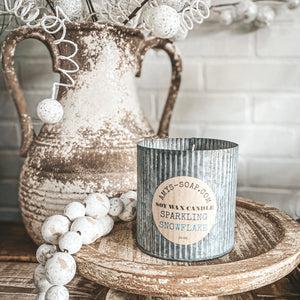 Rustic Metal Candle - Sparkling Snowflake