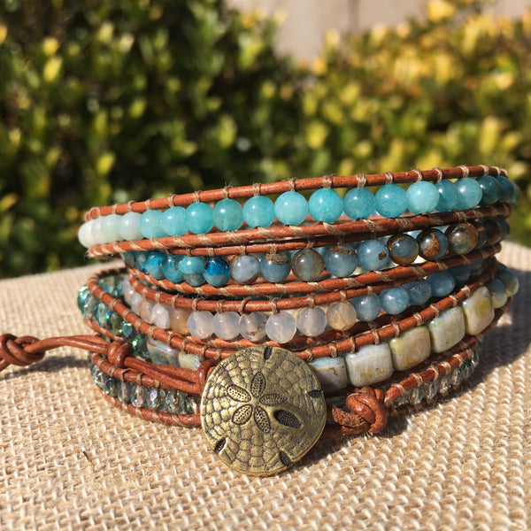 "5-wrap Bracelet - ""Multi"" Ocean on Medium Brown version 2"