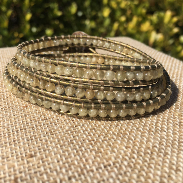 3-Wrap Bracelet - Herkimer Citrine version 2