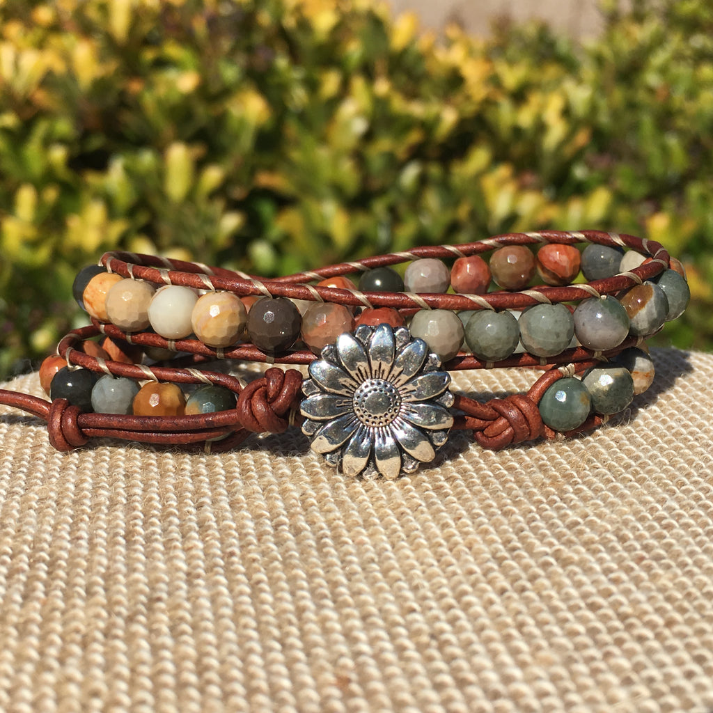 2-wrap Bracelet - Poly Chrome Jasper