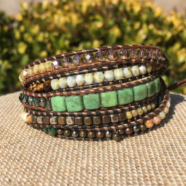 5-Wrap Bracelet - Multi Earthtones - Fall Pick