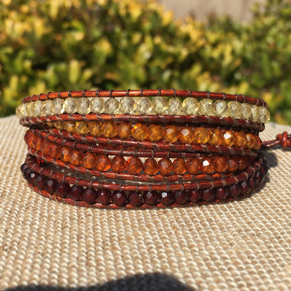 4-Wrap Bracelet - Faceted Amber Ombre - Fall Pick