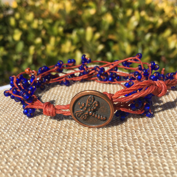 Bird's Nest Bracelet - Cobalt and Copper