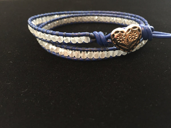2-wrap  Bracelet-Chinese Crystal w/Blue