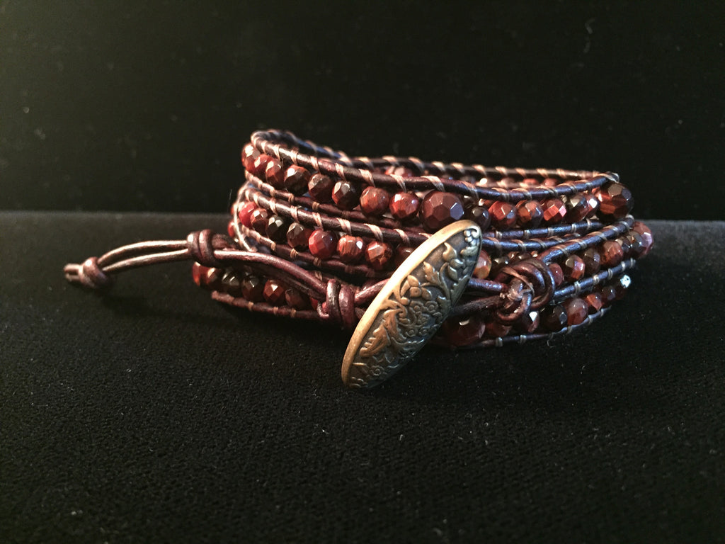4-Wrap Bracelet - Red Tiger Eye - Fall Pick