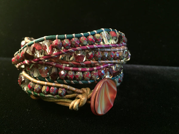 4-Wrap Bracelet - Autumn Leaves - Fall Pick