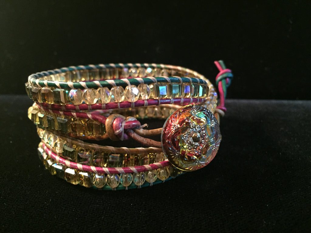 4-Wrap Bracelet - Sparkly Autumn Leaves