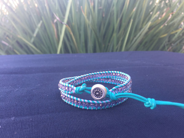2-wrap Bracelet- Violet on Turquoise