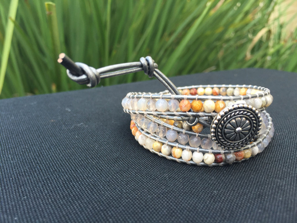 4-Wrap Bracelet - Crazy Lace Agate & Quartz