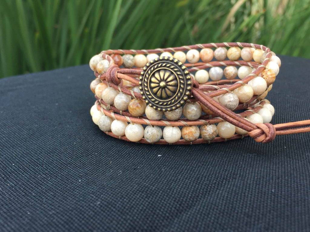 3-Wrap Bracelet - Picture Jasper - Fall Pick