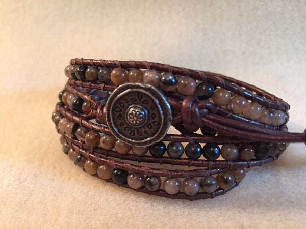 4-Wrap Bracelet - Pink/Brown Agate Beads