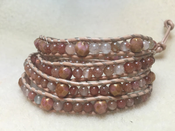 4-Wrap Bracelet - Peaches and Cream