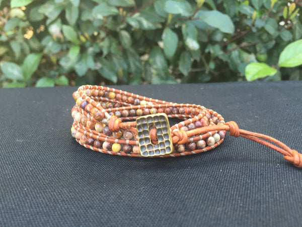 3-Wrap Bracelet - Birds Eye Rhyolite - Fall Pick