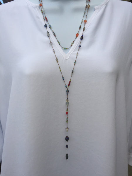 Floating  Beads  - Primary Colors Lariat Necklace