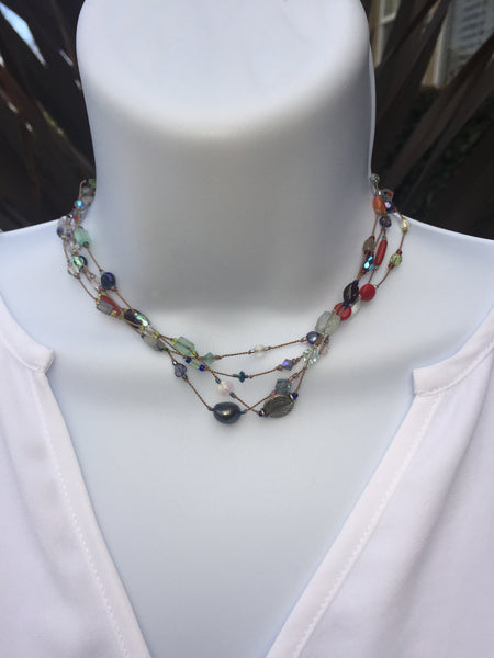 Floating  Beads  - Shades of Blue Lariat Necklace
