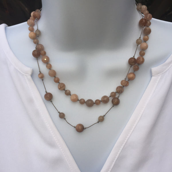 Floating  Beads  - Peach Moonstone Necklace