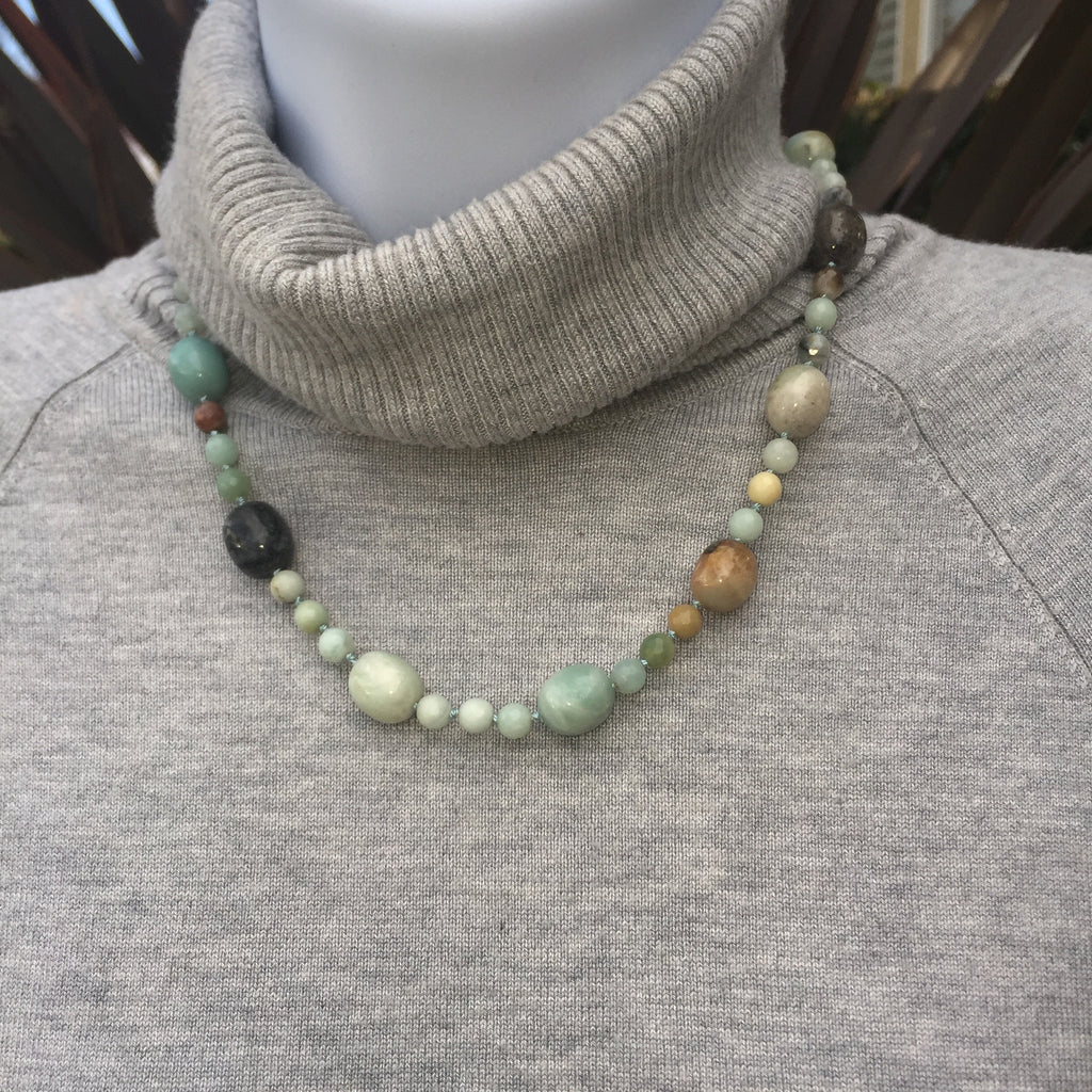 Knotted Black Amazonite Necklace