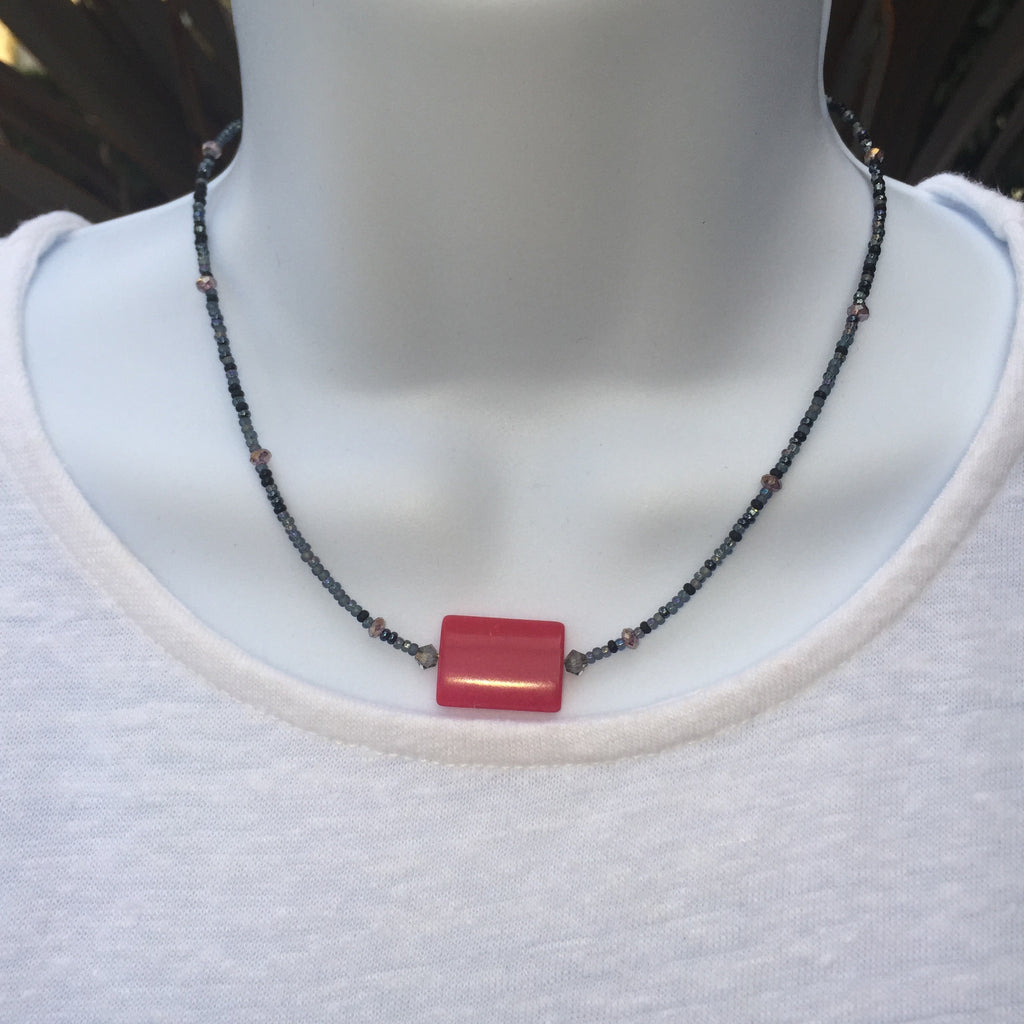 Seed Bead Necklace - Pink Jasper