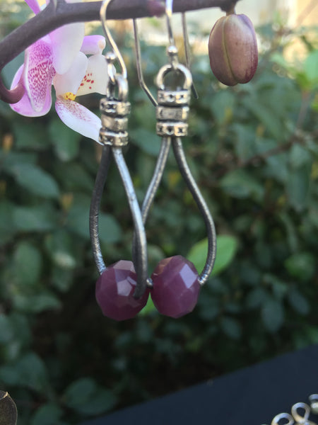 Leather Teardrop Earrings - Metallic Silver with Purple