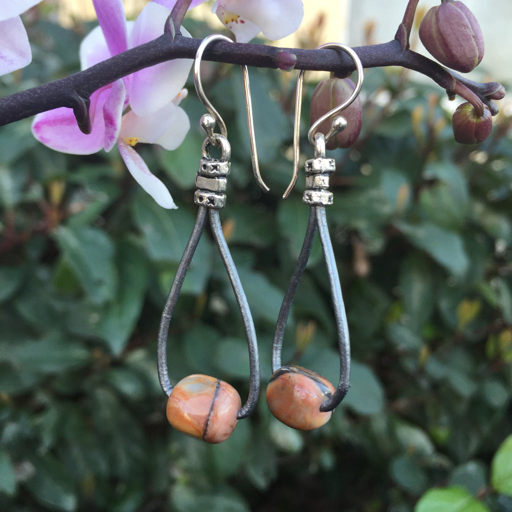 Leather Teardrop Earrings -Venus Jasper on Grey Metallic