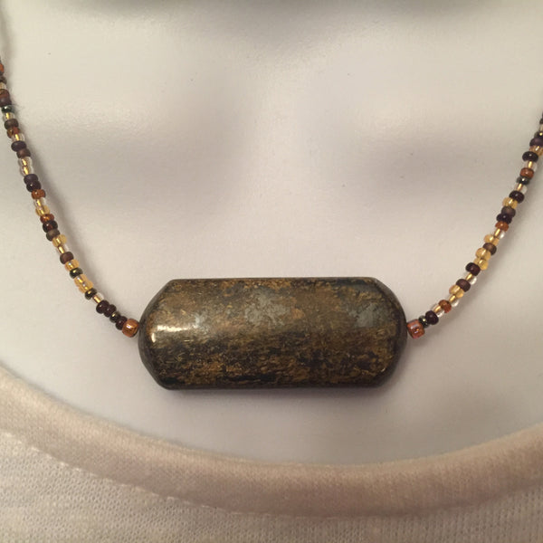 Seed Bead Necklace - Bronzite