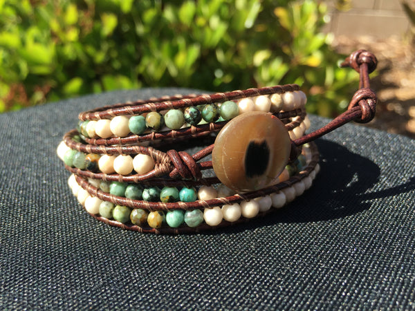 4-Wrap Bracelet - African Turquoise and Jasper - Fall Pick