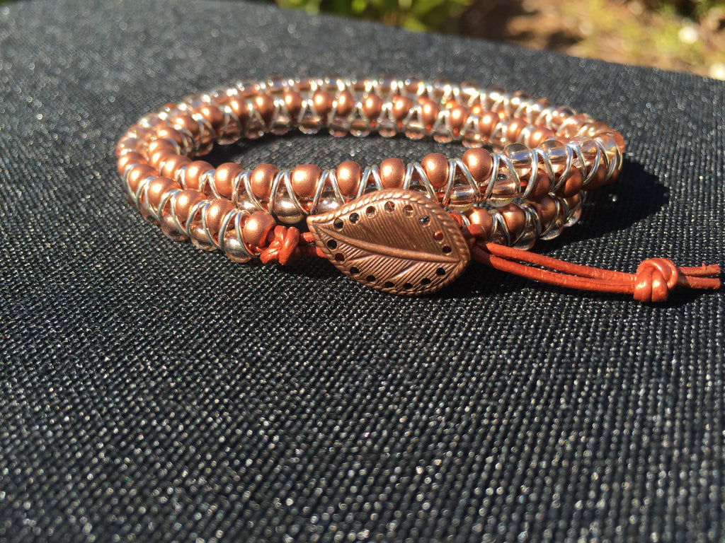 2-wrap  Bracelet - Jump Ring Seed Bead Copper Tones
