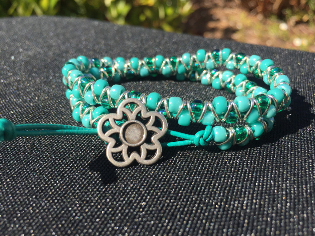 2-wrap  Bracelet - Jump Ring Seed Bead  Shades of Turquoise