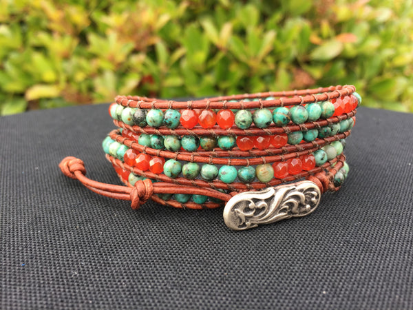 4-Wrap Bracelet - African Turquoise and Carnelian - Fall Pick
