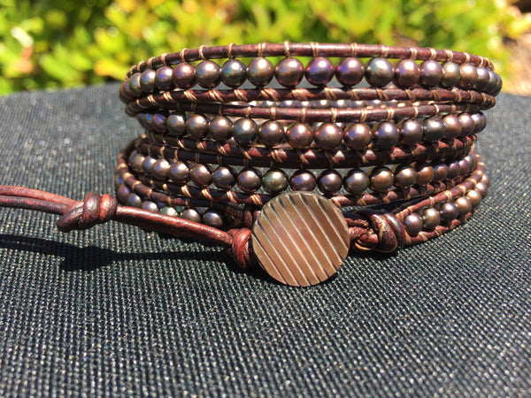 4-Wrap Bracelet - Black Iris Freshwater Pearls #2 - Fall Pick