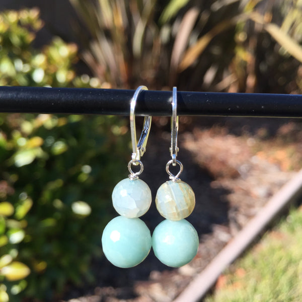 Amazonite and Water Agate Drop Earrings