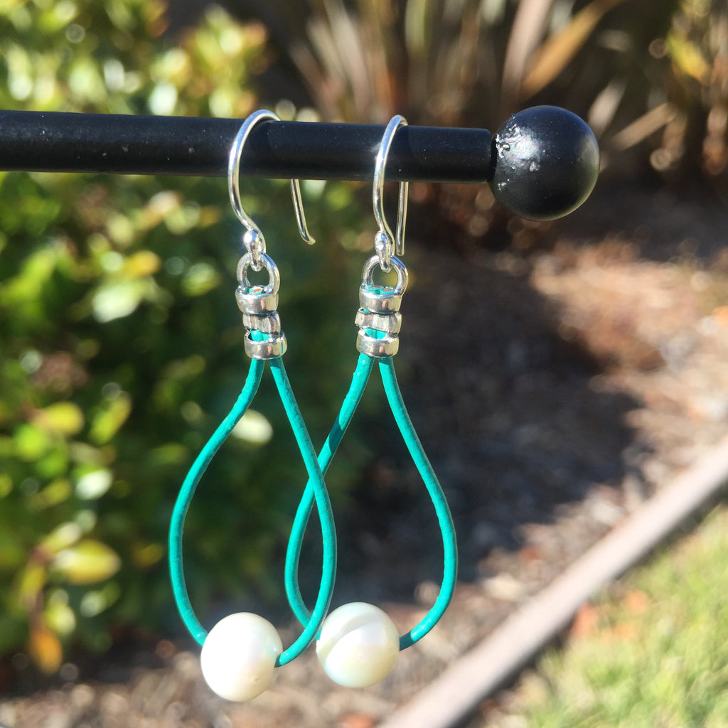 Leather Teardrop Earrings - White Pearls Turquoise Leather