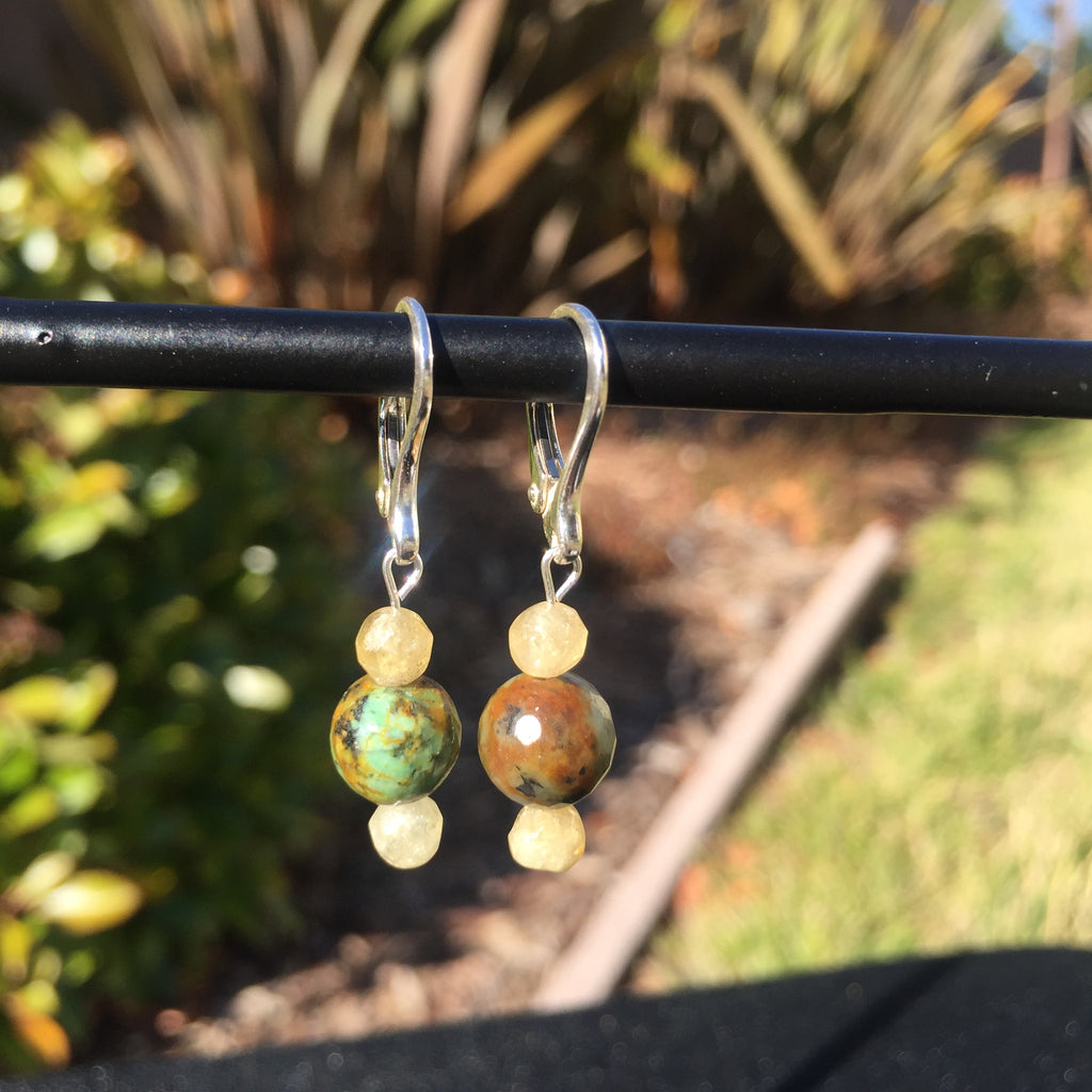 African Turquoise and Rhutilated Quartz Drop Earrings
