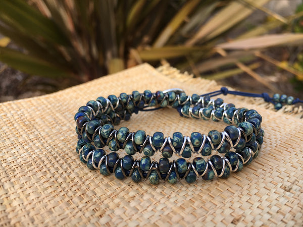 2-wrap  Bracelet - Jump Ring Seed Bead Stone Blue Picasso #2