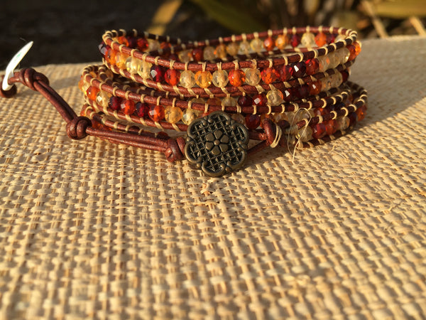 4-Wrap Bracelet - Faceted Amber - Fall Pick