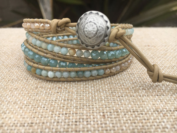 4-Wrap Bracelet - Amazonite and Crystal Mix