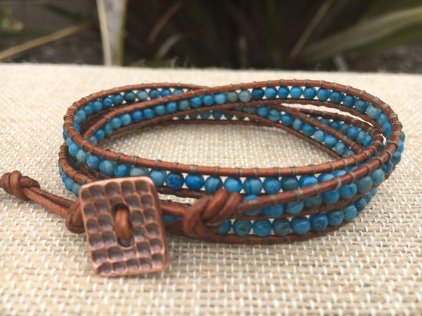 3-Wrap Bracelet - Blue Crazy Lace Agate - Fall Pick