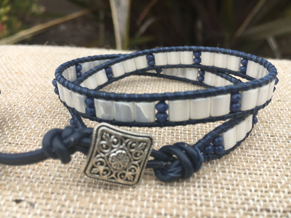 2-Wrap Bracelet - White Tila Beads with Blue