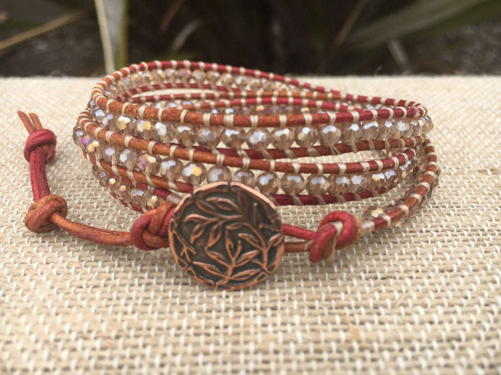 3-wrap Bracelet- Crystal Peach